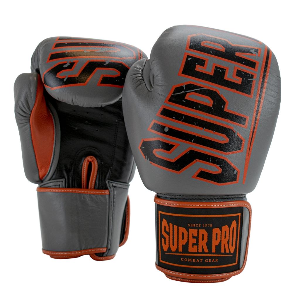 Super Pro Combat Gear Challenger Lederen (Thai)bokshandschoenen Grijs/Oranje/Zwart 10oz