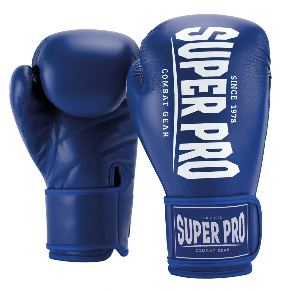 Super Pro Combat Gear Champ (kick)bokshandschoenen Blauw/Wit 8oz