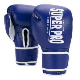Super Pro Combat Gear Winner Wedstrijdhandschoenen Klittenband Blauw/Wit 10oz