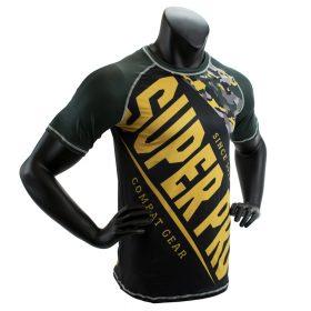 Super Pro Combat Gear T-Shirt Sublimatie Camo Zwart/Groen/Goud Extra Small