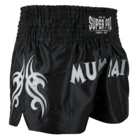 Super Pro Combat Gear Thaiboksshort Fighter (Zwart/Zilver)