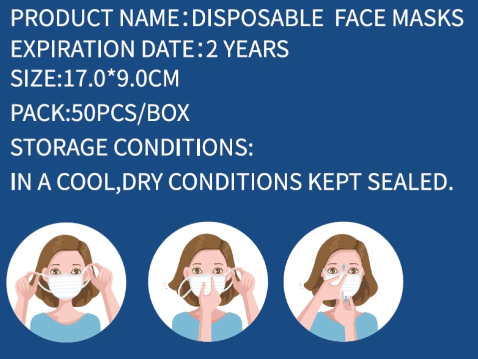 Chirurgische mondkapje - kleur blauw - 20 stuks