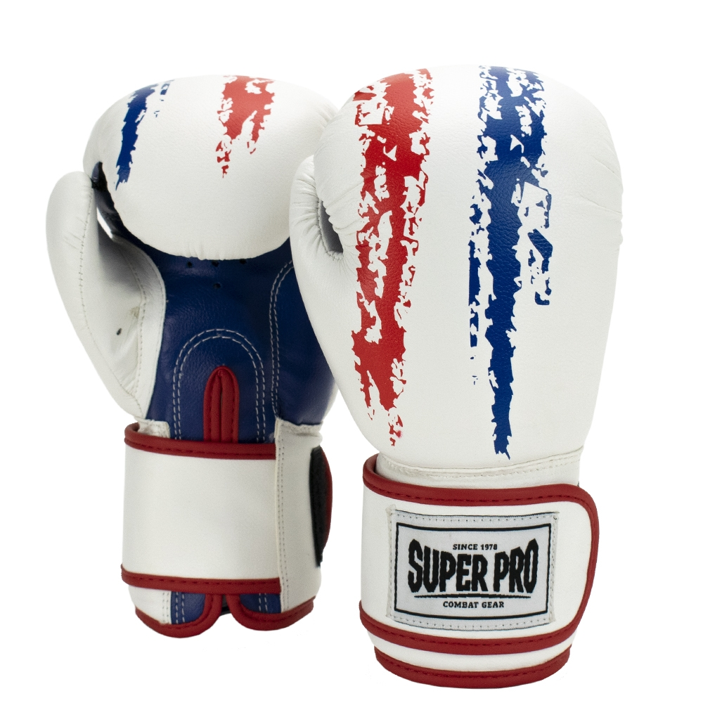 Super Pro Combat Gear Talent (kick)bokshandschoenen Rood/Wit/Blauw 4oz
