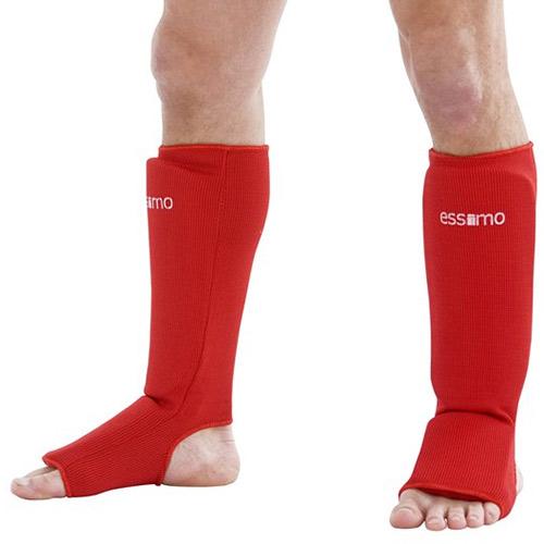 Essimo Scheen/wreef beschermer elastisch katoen rood