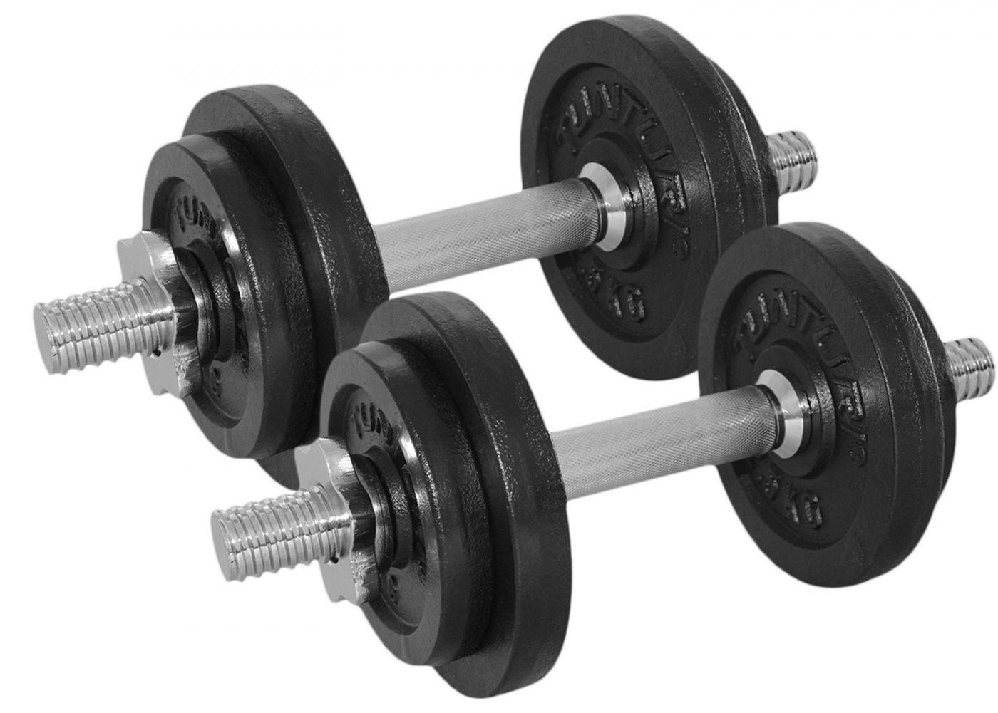 Tunturi Dumbbellset - Halterset - Totaal 20 kg - 2 stuks Gietijzer met schroefsluitingen