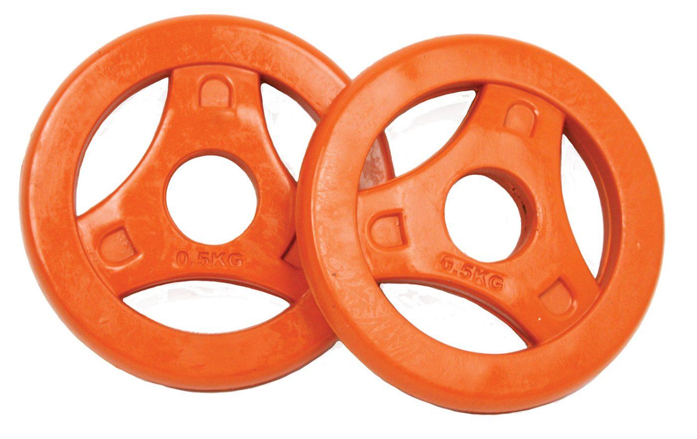 Tunturi Aerobic Halterschijven - Halter gewichten - 2x 0.5 kg - 30mm - Oranje