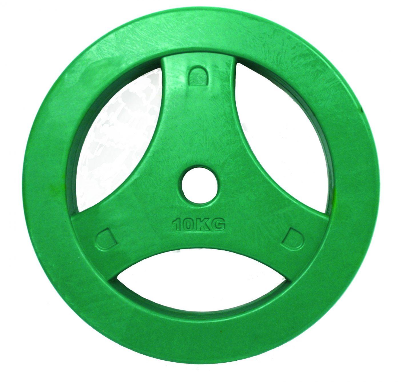 Tunturi Aerobic Halterschijf - Halter gewichten - 1x 10 kg - 30mm - Groen