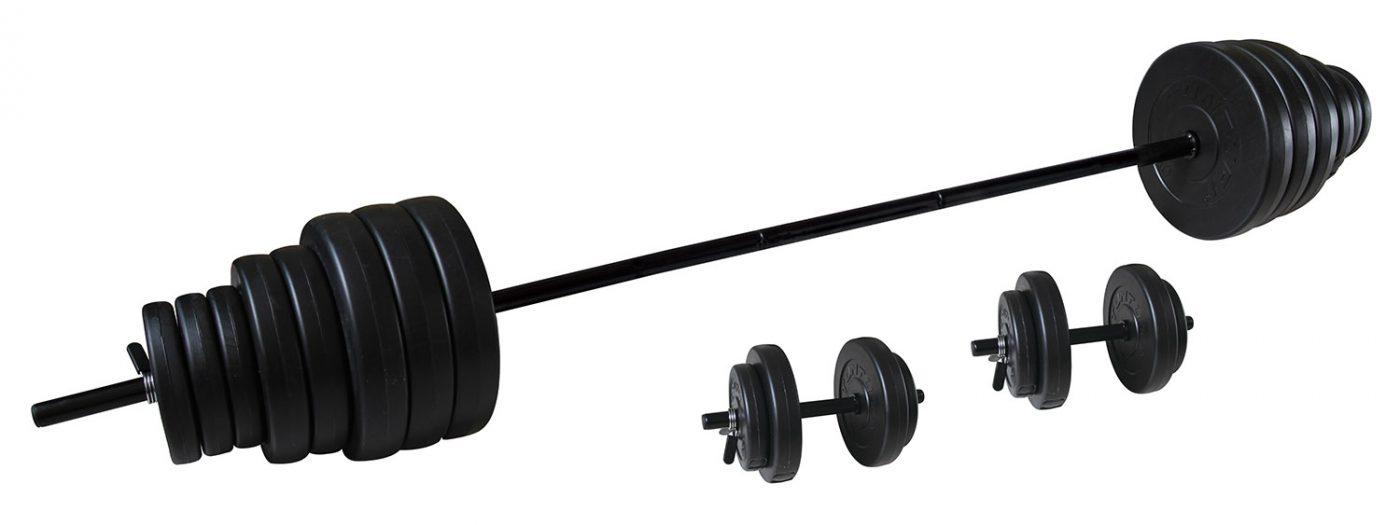 Tunturi Vinyl Halterset - Dumbellset - 50kg - 1x Halterstang + 2x Dumbbellstangen + (Gewichten en sluitingen)
