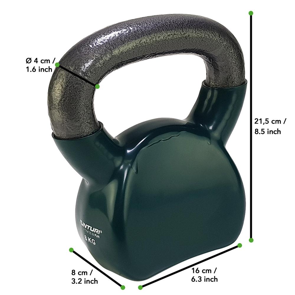 Tunturi Kettlebell - Vinyl - 8 kg - Groen