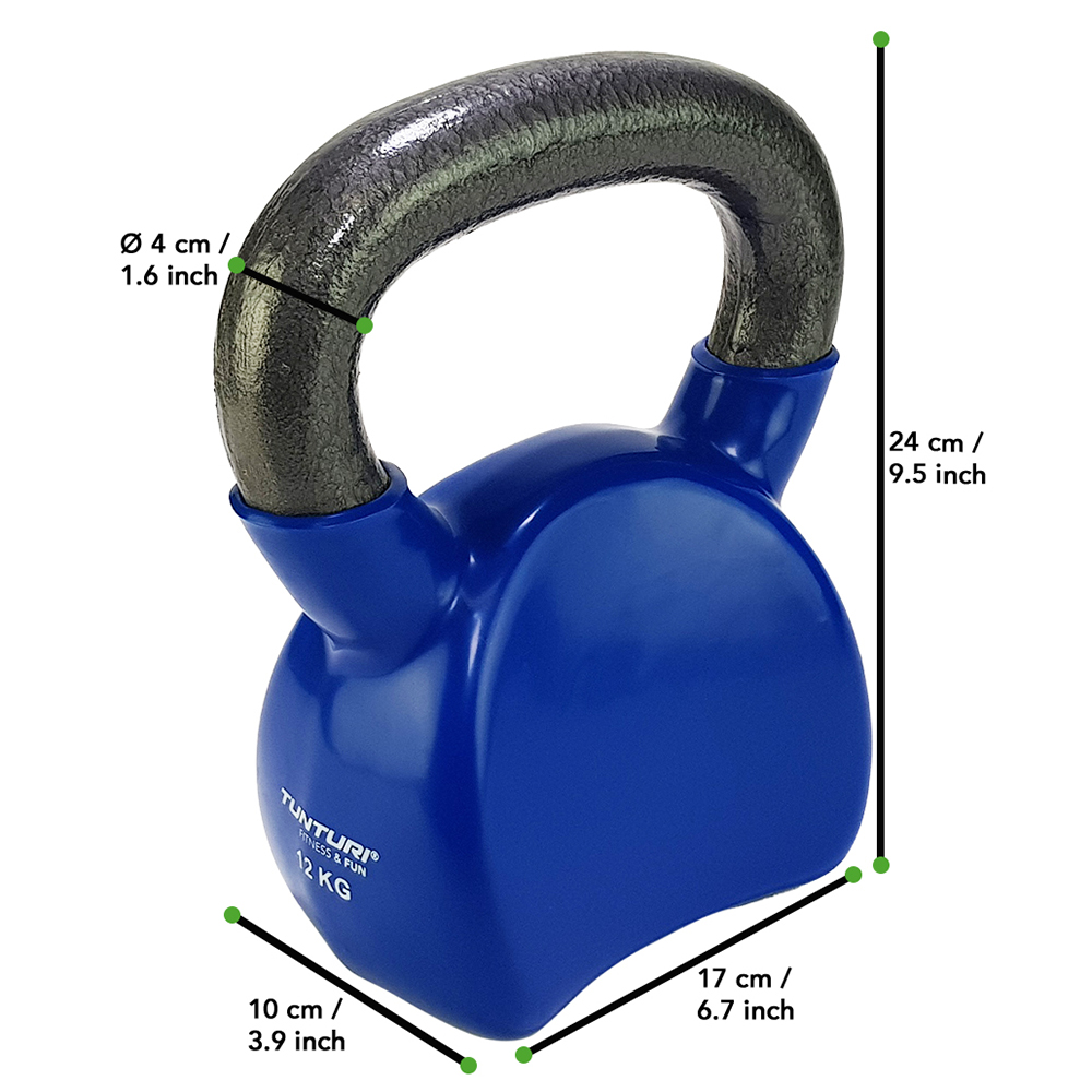 Tunturi Kettlebell - Vinyl - 12 kg - Blauw