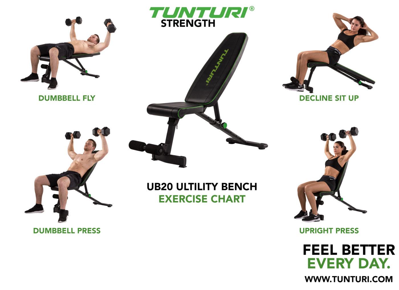 Tunturi UB20 Utility Bench Verstelbare halterbank - Fitnessbank - Buikspierbank - Trainingsbank
