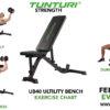 Tunturi UB40 Utility Bench Verstelbare halterbank - Fitnessbank - Buikspierbank - Trainingsbank