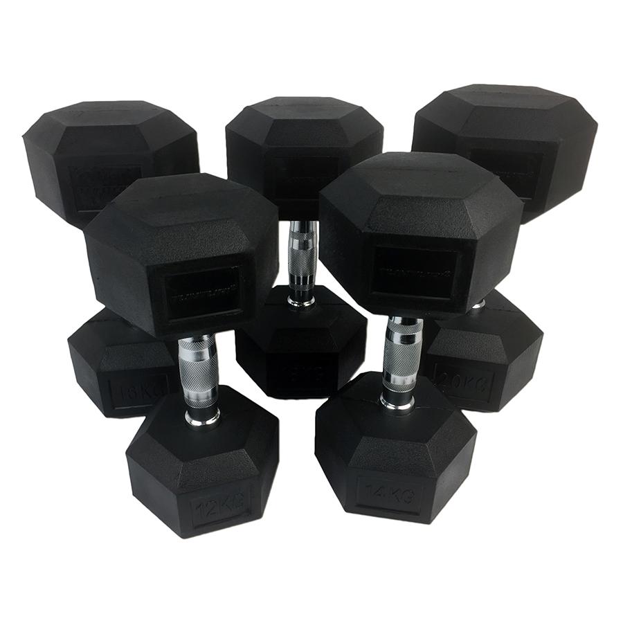 Tunturi Rubber Dumbbell Set - Dumbellset - 12-20 kg (5 sets - 12/14/16/18/20kg)