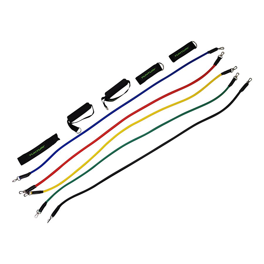 Tunturi Fitness elastiek set - weerstandsbanden fitness - 5x incl. acc