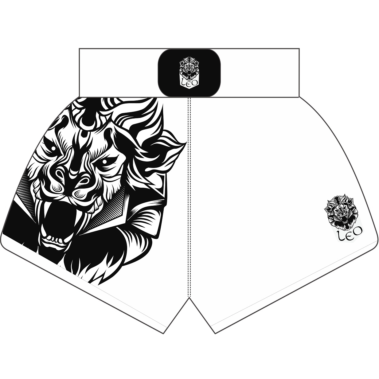 Leo INSTINCT Kickboxing Short - White/Black