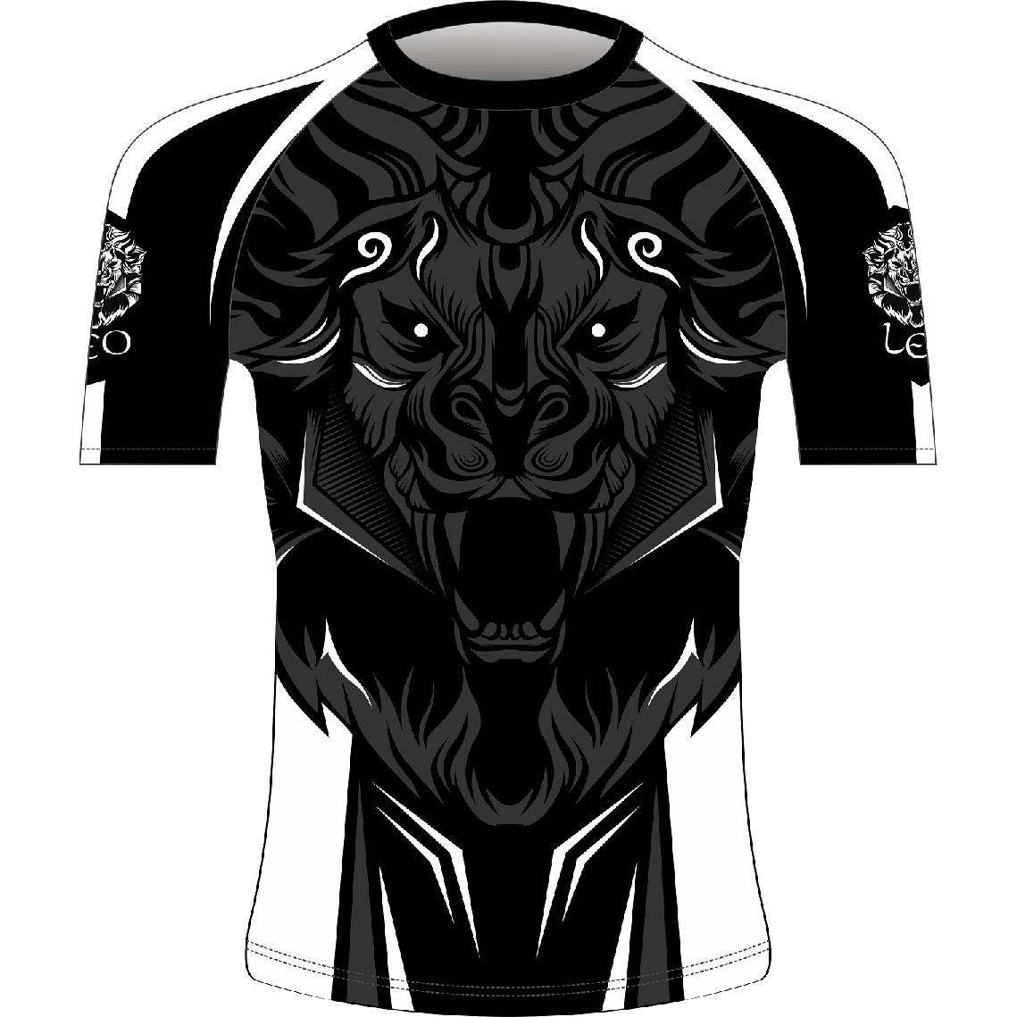 Leo ROAR Rashguard SS - Black/White