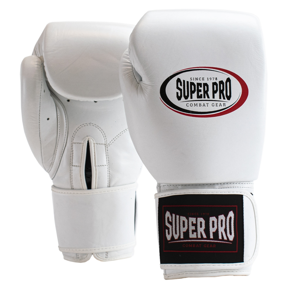 Super Pro Combat Gear Thai-Pro Lederen (Thai)bokshandschoenen Wit/Zwart