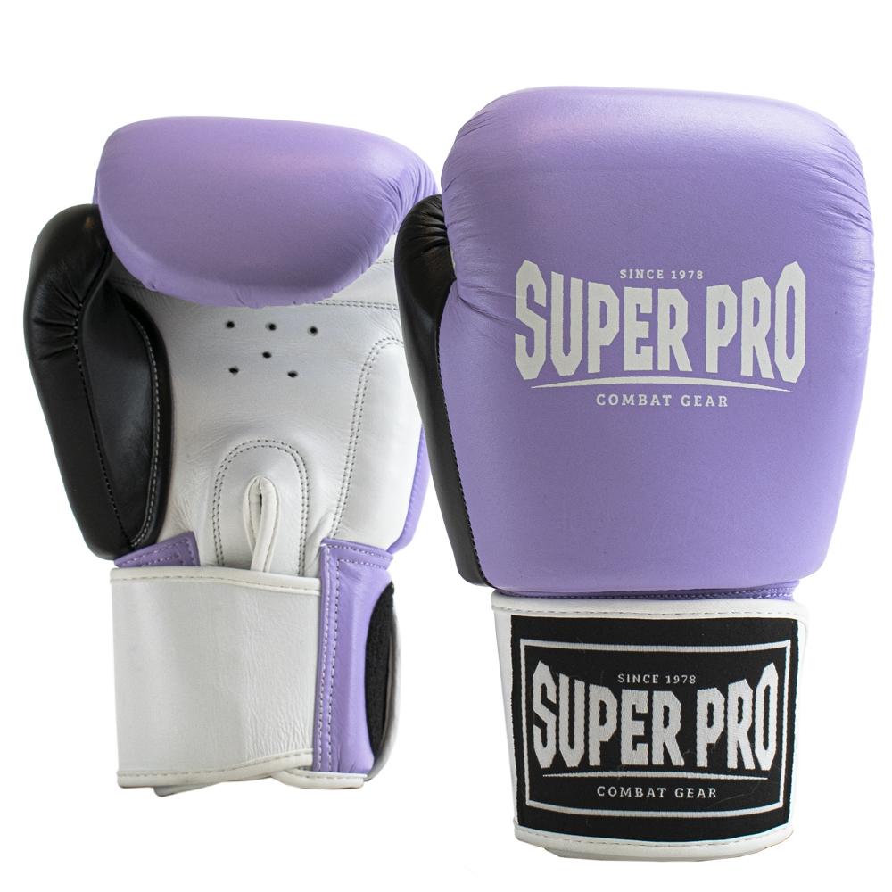 Super Pro Lederen (thai)bokshandschoenen Enforcer Lila/Zwart/Wit