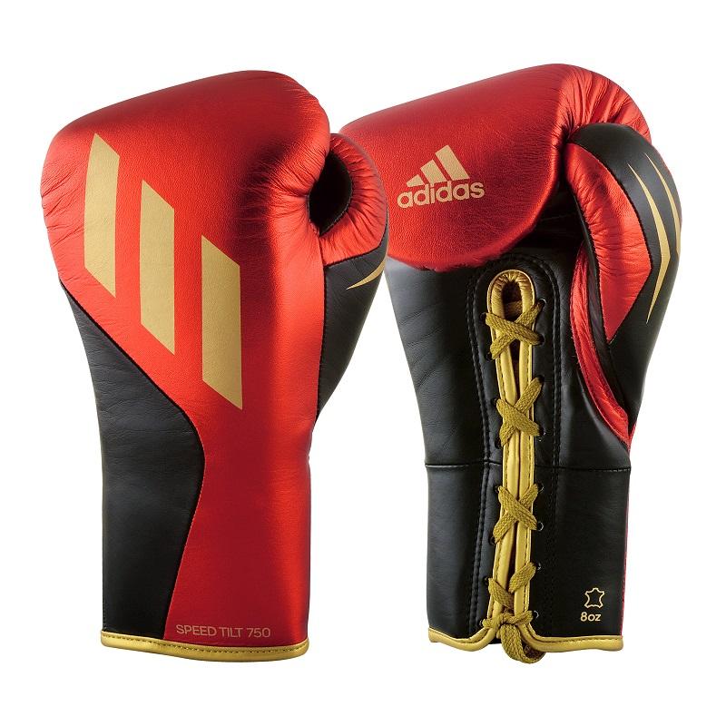 adidas Bokshandschoenen Speed TILT 750 Pro Fight Vetersluiting Zwart/Rood/Goud