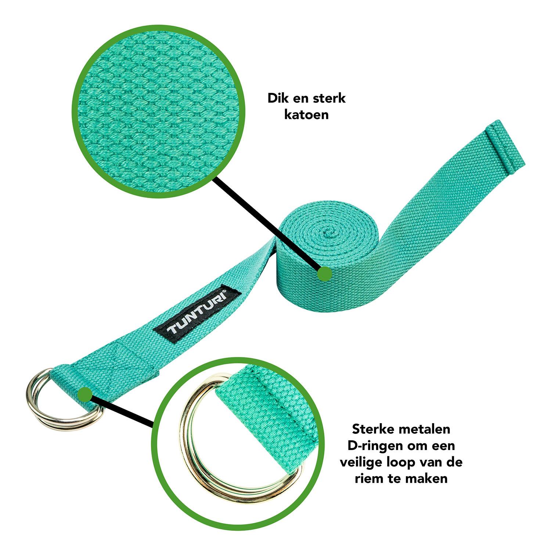 Tunturi Yoga riem - yoga straps - 200cm - Turquoise